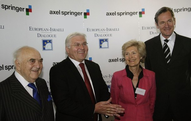 British publisher Sir Weidenfeld, German Foreign Minister Steinmeier, German publisher Springer and Doepfner, CEO of German publisher Axel Springer AG pose for media before the European-Israeli Dialogue conference in Berlin